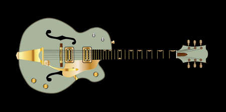 A typical country and western guitar in green over a black background