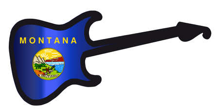 An original solid body electric guitar isolated over white with the Montana state flag