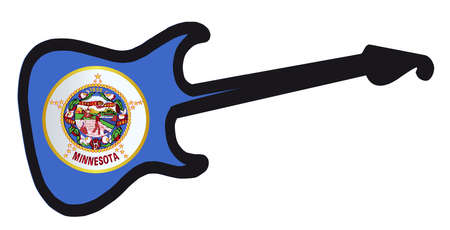 An original solid body electric guitar isolated over white with the Minnesota state flag