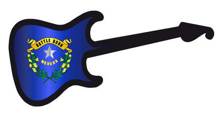An original solid body electric guitar isolated over white with the Nevada state flag