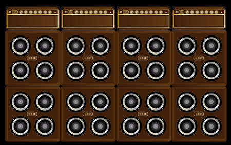 A wall of sound in guitarists amplifiers and4x12 cabinets making the stack