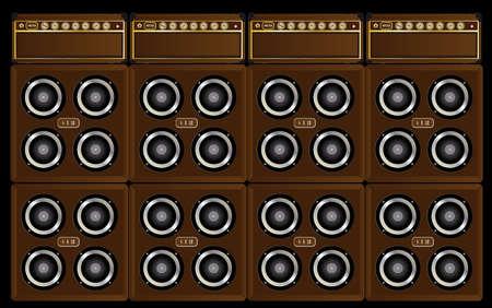 Eine Klangwand in Gitarristenverstärkern und 4x12-Boxen, die den Stapel bilden