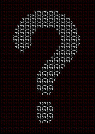 A large question mark made up of several smaller ones as a background Çizim