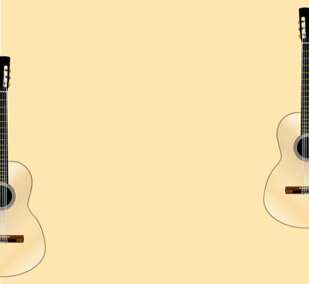 A typical Flamenco Spanish acoustic guitar set in 2 halves on a pale yellow background Illustration