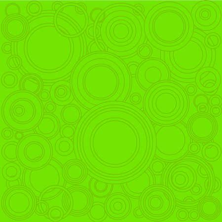 A background of retrograde dark green circlesover a lighter green background. Çizim