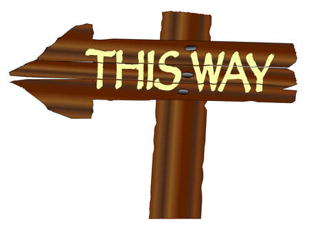 A rough wooden arrow with the words this way isolated over a white background