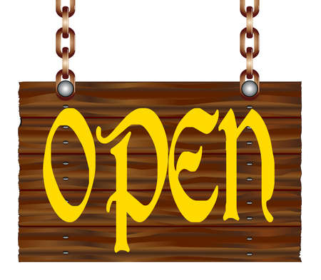 A hanging wooden open sign isolated against a white background. 矢量图像