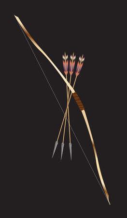A stypical bow and arrow on black as used by Robin Hood and the North American Indians Stock Illustratie