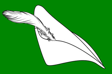 The type of cap worn by Robin Hood i black line drawing over a green background