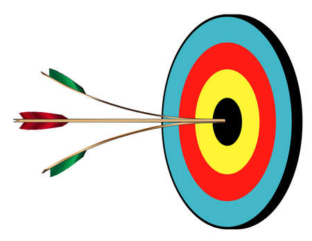 The target for a bow and arrow with two perfect bulls and a splitting arrow Stock Illustratie