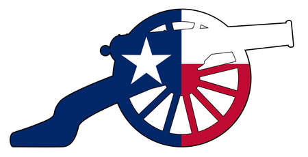 Typical American civil war cannon gun with Texas flag isolated on a white background