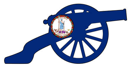 Typical American civil war cannon gun with Virginia state flag isolated on a white background