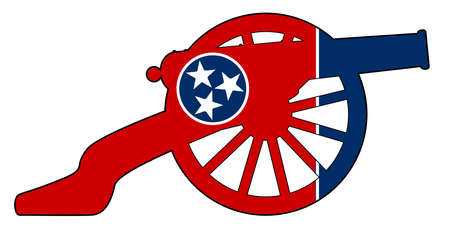 Typical American civil war cannon gun with Tennessee state flag isolated on a white background Иллюстрация