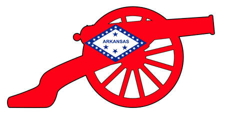 Typical American civil war cannon gun with Arkansas state flag isolated on a white background