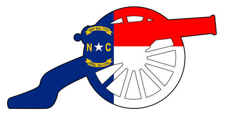 Typical American civil war cannon gun with North Carolina state flag isolated on a white background