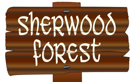 A wooden sign with the words Sherwood Forest isolated over a white background