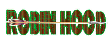 A typical longbow arrow set over the text Robin Hood isolated, on a white background