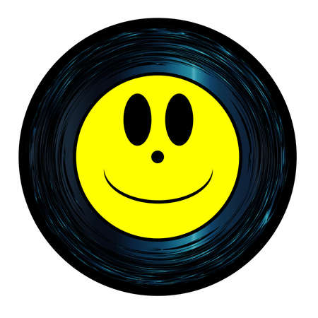 Happy smily Emoji emoticon ghost face on a 45 Seven Inch Vinyl record with yellow label over a white background