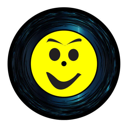 Happy Emoji emoticon face on a 45 Seven Inch Vinyl record with yellow label over a white background