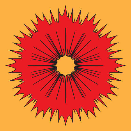 A bright red explosive type splash on an orange background Illustration