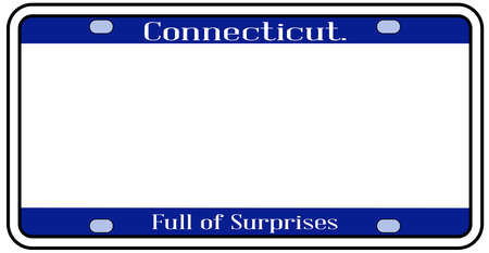 Connecticut state license plate in the colors of the state flag with icons over a white background Stock Illustratie