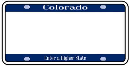 Targa dello stato del Colorado nei colori della bandiera dello stato con le icone della bandiera su uno sfondo bianco