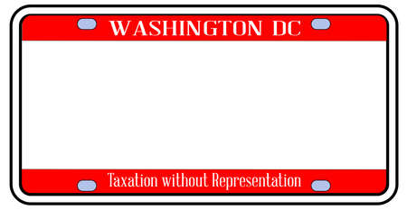 Blank Washington DC state license plate in the colors of the state flag over a white background
