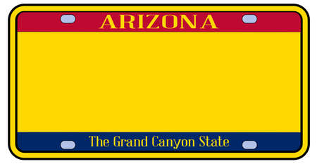 Blank Arizona state license plate in the colors of the state flag over a white background