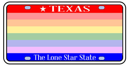 Blank Texas state license plate in the colors of the state flag with LGBT rainbow over a white background