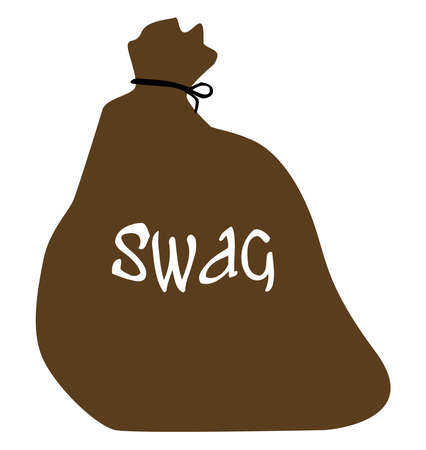 A burglars bulging swag bag isolated on a white background Stock Illustratie