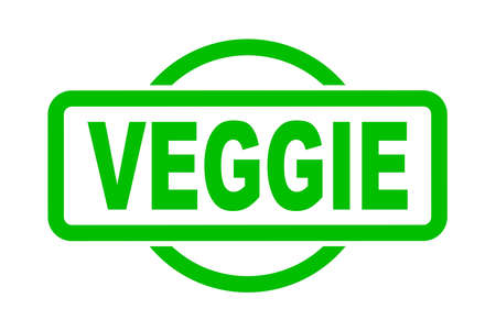 An veggie rubber stamp in green over a white background