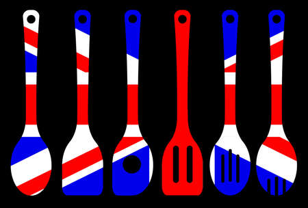 A collection of kitchen tool silhouette over a black background woth a backdrop of the British Union flag