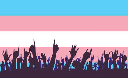The transgender pride flag in pastel blue pink and white as a background with waving hands in silhouette