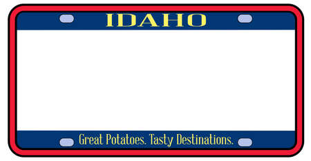 Blank Idaho state license plate in the colors of the state flag over a white background