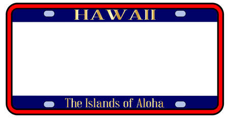 Blank Hawaii state license plate in the colors of the state flag over a white background