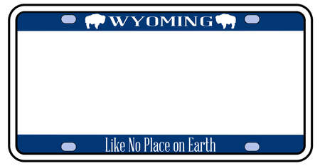 Blank Wyoming state license plate in the colors of the state flag over a white background