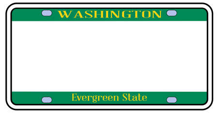 Blank Washington state license plate in the colors of the state flag over a white background