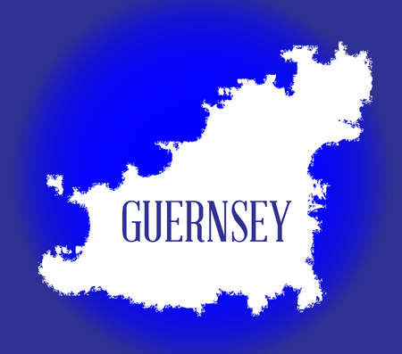 Ahite silhouette of the British island of Guernsey near the coast of France