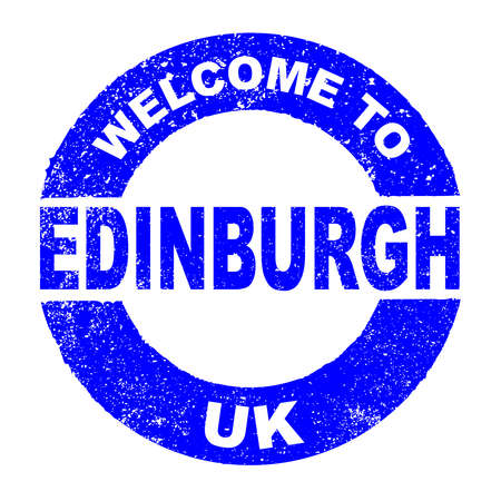 A grunge rubber ink stamp with the text Welcome To Edinburgh UK over a white background