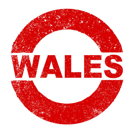 Un tampon encreur en caoutchouc grunge avec le texte Pays de Galles sur fond blanc Vecteurs