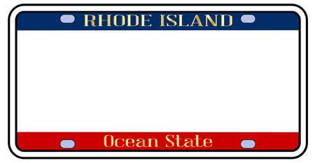 La matrícula del estado de Rhode Island en blanco con los colores de la bandera del estado sobre un fondo blanco. Ilustración de vector
