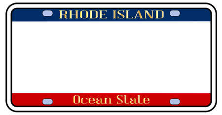 Pusta tablica rejestracyjna stanu Rhode Island w kolorach flagi państwowej na białym tle Ilustracje wektorowe