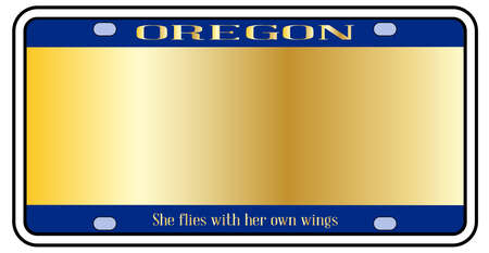 Blank Oregon state license plate in the colors of the state flag over a white background Stock Illustratie