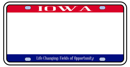 Blank Iowa state license plate in the colors of the state flag over a white background Stock Illustratie