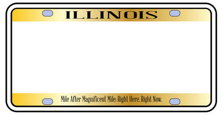 Blank Illinois state license plate in the colors of the state flag  over a white background