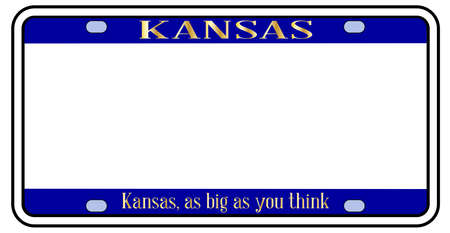 VBlank Kansas state license plate in the colors of the state flag over a white background Stock Illustratie