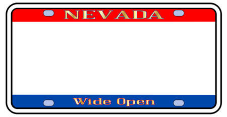 Blank Nevadastate license plate in the colors of the state flag over a white background