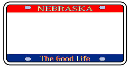Blank Nebraska state license plate in the colors of the state flag over a white background
