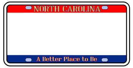 Blank North Carolina license plate in the colors of the state flag over a white background