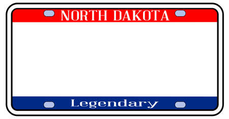 Blank North Dakota  license plate in the colors of the state flag over a white background